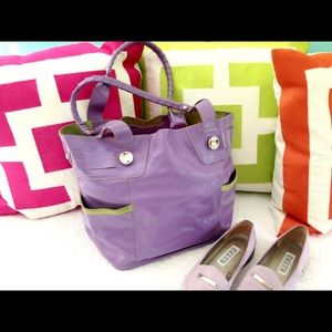 B MAKOWSZKY Purple & Green Leather Satchel